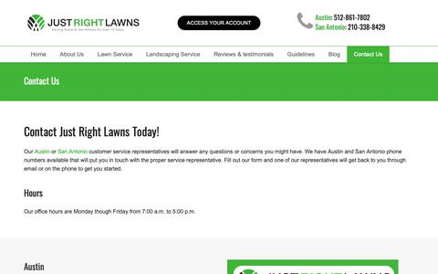 Screenshot of Contact Page justrightlawns.com - Contact Us - Just Right Lawns - Austin & San Antonio, TX - captured Oct. 14, 2018