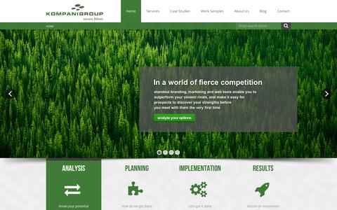 Screenshot of Home Page kompanigroup.com - Kompani Group - captured Oct. 1, 2014