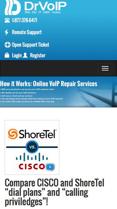 Screenshot of Home Page  drvoip.com - ShoreTel Support | Cisco Support |  Network Security