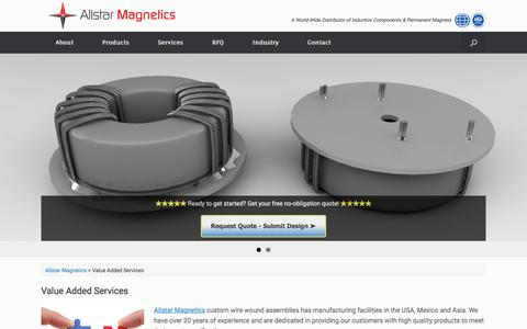 Screenshot of Services Page allstarmagnetics.com - Value Added Services – Allstar Magnetics - captured July 29, 2018