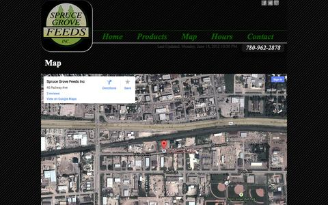 Screenshot of Maps & Directions Page sprucegrovefeeds.com - Map - captured Sept. 30, 2014