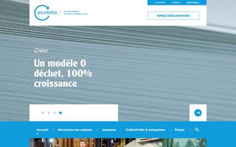 Screenshot of Home Page ecofolio.fr - Ecofolio   Tous les papiers ont droit à plusieurs vies. - captured July 16, 2018