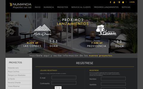 Screenshot of Login Page numancia.cl - Contenido - captured Oct. 12, 2018