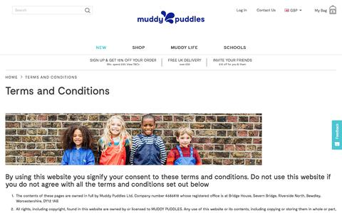 Screenshot of Terms Page muddypuddles.com - Terms and Conditions | Muddy Puddles - captured Sept. 22, 2018