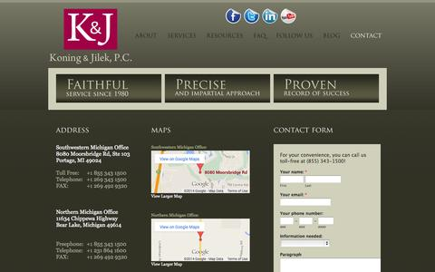 Screenshot of Contact Page Locations Page koningjilek.com - Koning and Jilek - Contact Us - captured Oct. 23, 2014