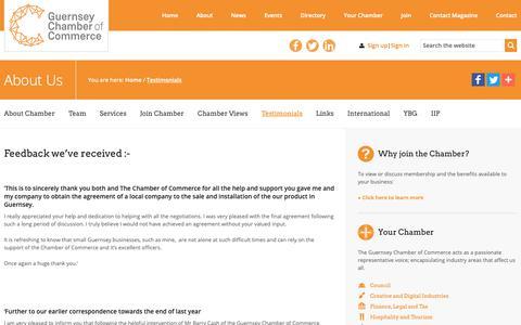 Screenshot of Testimonials Page guernseychamber.com - Testimonials | Guernsey Chamber of Commerce - captured Sept. 30, 2018