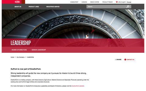 Screenshot of Team Page dupont.com - Leadership   DuPont USA - captured Dec. 22, 2017