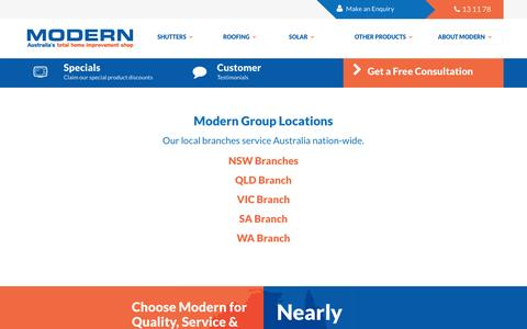 Screenshot of Locations Page moderngroup.com.au - Modern Group Office Locations  » Modern Group - captured Feb. 8, 2016