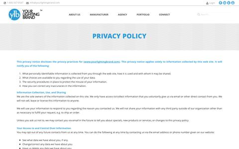 Screenshot of Privacy Page yourlightingbrand.com - Your Lighting Brand  | Privacy Policy - captured Oct. 28, 2014