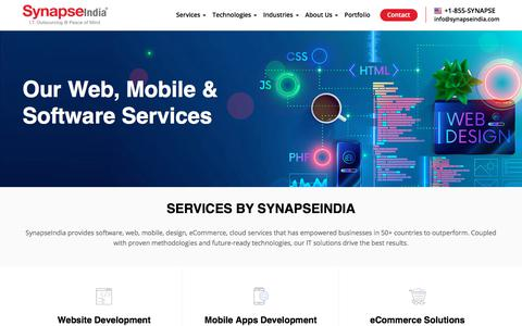 Screenshot of Services Page synapseindia.com - Offshore IT Services | Web Design, Software, Mobile Apps - captured Jan. 19, 2020