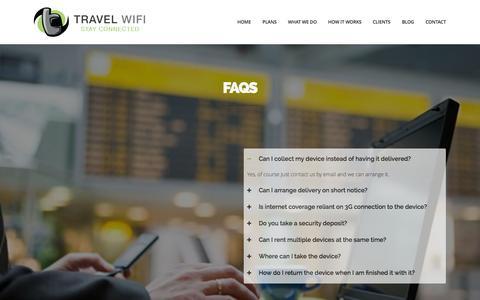 Screenshot of FAQ Page travelwifi.ie - FAQs   Travel Wifi   Travel Wifi - captured Oct. 7, 2014