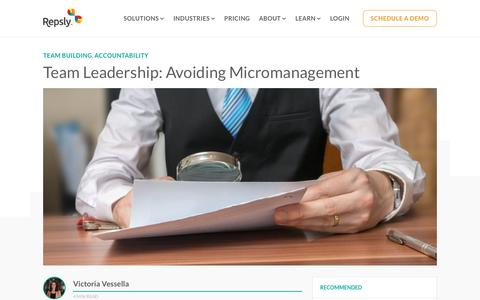 Screenshot of Team Page repsly.com - Team Leadership: Avoiding Micromanagement - captured Feb. 11, 2019