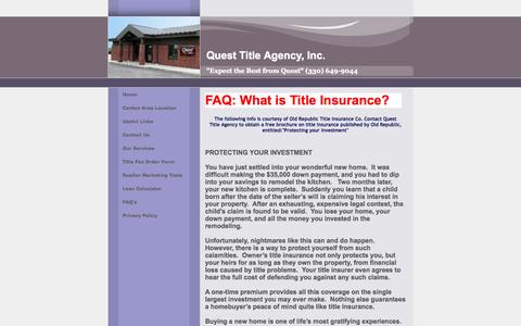 Screenshot of FAQ Page questtitle.com - Quest Title Agency Real Estate Title Company - captured Oct. 3, 2014