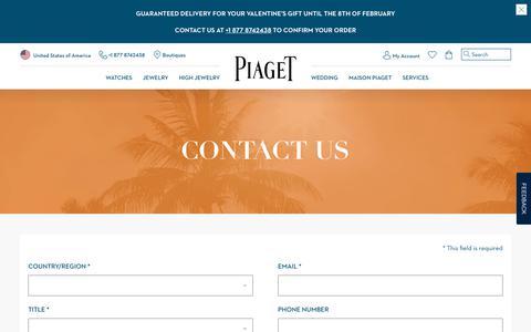 Screenshot of Contact Page piaget.com - Close - captured Jan. 21, 2019