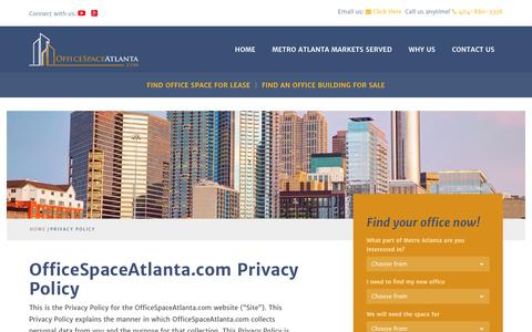 Screenshot of Privacy Page officespaceatlanta.com - Privacy Policy | OfficeSpaceAtlanta.com - captured Nov. 29, 2016