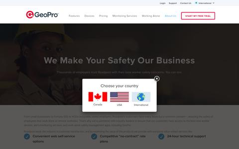 Screenshot of About Page geoprosolutions.com - Roadpost is Your Work Alone Safety Partner – USA - captured Nov. 5, 2016