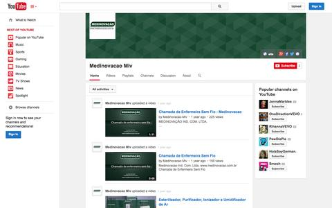 Screenshot of YouTube Page youtube.com - Medinovacao Miv  - YouTube - captured Oct. 27, 2014