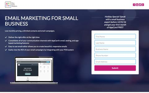 Screenshot of Landing Page appcard.com - Email Marketing for small business - captured Nov. 23, 2016