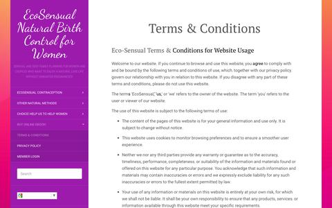 Screenshot of Terms Page ecosensual.org - EcoSensual Birth Control Terms and Conditions - captured July 15, 2017
