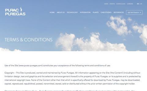 Screenshot of Terms Page purac-puregas.com - Terms & Conditions - Purac - captured Jan. 23, 2016