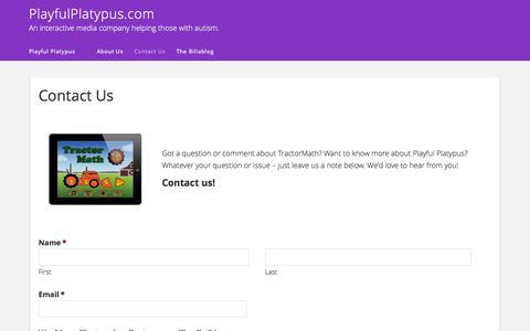 Screenshot of Contact Page playfulplatypus.com - Contact Us - PlayfulPlatypus.com - captured Oct. 3, 2014