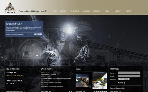Screenshot of About Page saracen.com.au - Saracen Mineral Holdings :: Home - captured Oct. 4, 2014