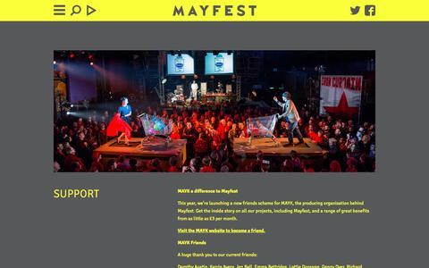 Screenshot of Support Page mayfestbristol.co.uk - Mayfest - captured May 8, 2016
