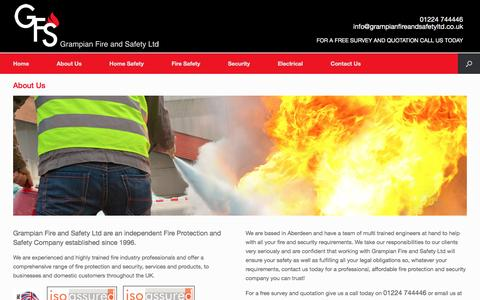 Screenshot of About Page grampianfireandsafetyltd.co.uk - About Us | Grampian Fire and Safety | Security, Electrical and Fire Safety in Aberdeen - captured May 22, 2017