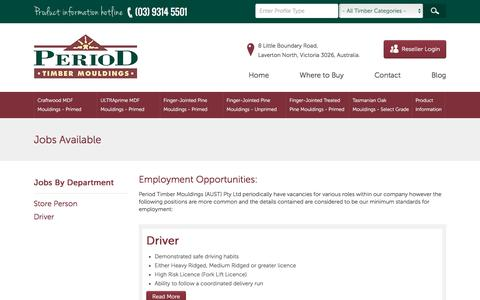 Screenshot of Jobs Page periodmouldings.com.au - Jobs Available - captured March 7, 2016