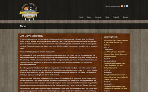 Screenshot of About Page jimcurrymusic.com - About Jim Curry Jim Curry Music - captured Sept. 30, 2014