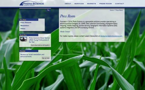 Screenshot of Press Page photoscience.com - Press Room   Photo Science Inc. - captured Oct. 2, 2014