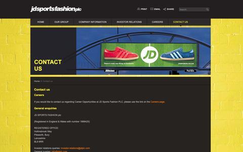 Screenshot of Contact Page jdplc.com - Contact us – JD Sports Fashion plc - captured Sept. 30, 2018