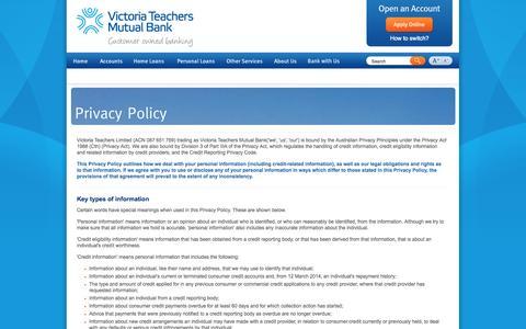 Screenshot of Privacy Page victeach.com.au - Privacy Policy - Victoria Teachers Mutual Bank - captured Nov. 4, 2014