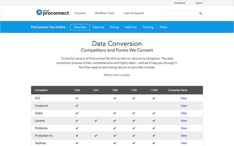 Screenshot of intuit.com - Tax Data Conversion | ProConnect Tax Online - captured July 22, 2017