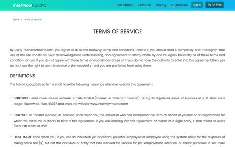 Screenshot of Terms Page interviewmocha.com - Interview Mocha Terms of Services - captured Nov. 30, 2017