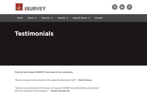 Screenshot of Testimonials Page isurvey-group.com - Testimonials - iSURVEY - captured Oct. 13, 2018