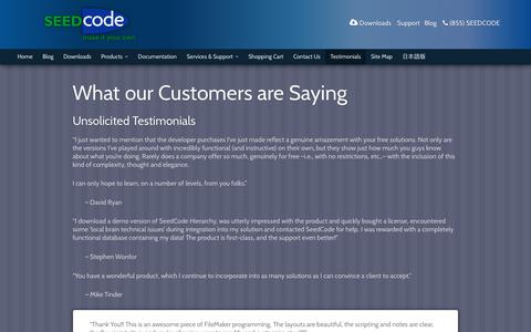 Screenshot of Testimonials Page seedcode.com - What our Customers are Saying - SeedCode - captured June 11, 2017