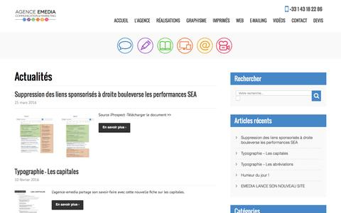 Screenshot of Blog agence-emedia.com - L'actualité de l'agence-emedia, marketing et communication - captured May 22, 2016