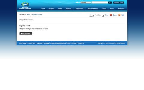 Screenshot of Privacy Page apec.org - Page Not Found - Asia-Pacific Economic Cooperation - captured Oct. 30, 2014