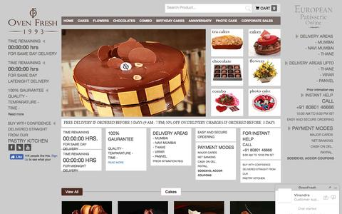 Screenshot of Home Page ovenfresh.in - Best Cake Shop in Mumbai | Online Cake Delivery in Mumbai | Famous Cake Shop Mumbai | OVENFRESH.IN - captured Jan. 4, 2017