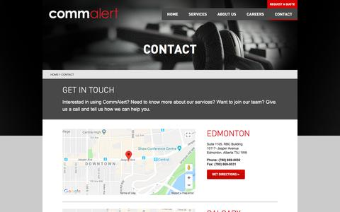 Screenshot of Contact Page commalert.com - Contact | CommAlert - captured July 20, 2018
