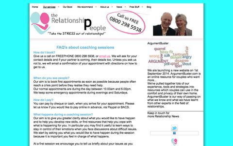 Screenshot of FAQ Page therelationshipeople.co.uk - FAQ's about coaching sessions | The Relationship People - captured Nov. 5, 2014
