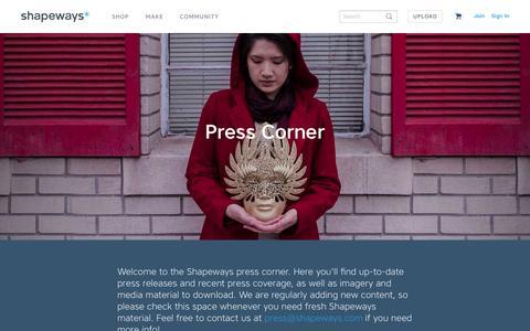 Screenshot of Press Page shapeways.com - Press Corner - Shapeways 3D Printing - Shapeways - captured Feb. 1, 2016