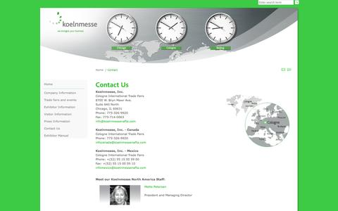 Screenshot of Contact Page koelnmessenafta.com - Contact Us - captured Oct. 6, 2014