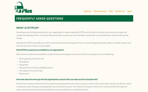 Screenshot of FAQ Page eftplus.com - Frequently Asked Questions - EFT Plus - captured Feb. 17, 2018