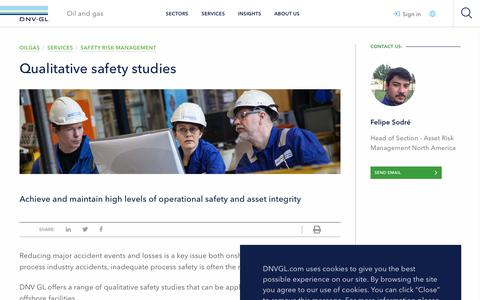 Screenshot of Services Page dnvgl.com - Qualitative safety studies - DNV GL - captured Dec. 7, 2019