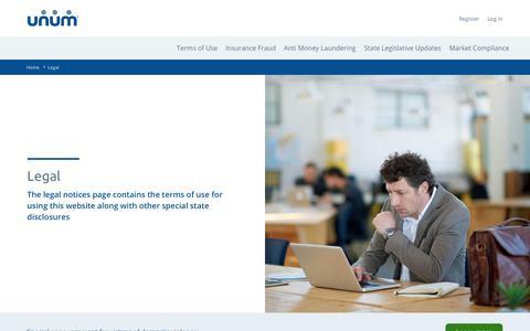 Screenshot of Terms Page unum.com - Legal Notices   Unum - captured Jan. 4, 2020