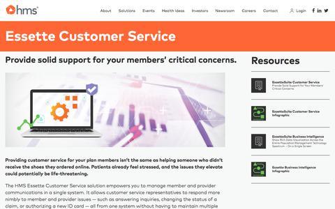 Screenshot of Support Page hms.com - Essette Customer Service - HMS.com - captured Aug. 7, 2019