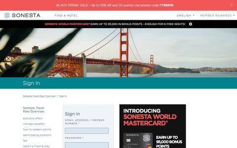 Screenshot of Login Page sonesta.com - Sign In   Sonesta Travel Pass - captured Dec. 1, 2019
