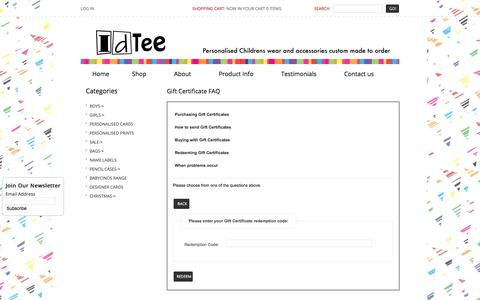 Screenshot of FAQ Page idtee.com.au - Gift Certificate FAQ : IDTEE, personalised childrens wear - captured July 11, 2018